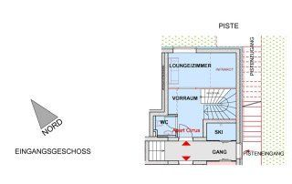 Grundriss Erdgeschoss des Apartments Cirrus