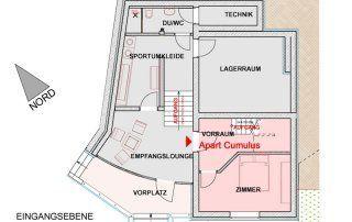 Grundriss Erdgeschoss des Apartments Cumulus