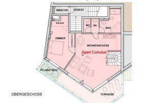 Grundriss Obergeschoss des Apartments Cumulus