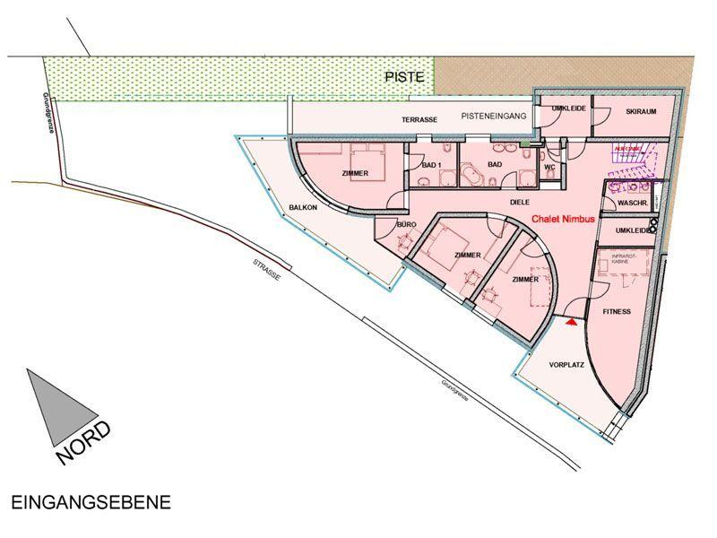 Grundriss Erdgeschoss des Apartments Nimbus